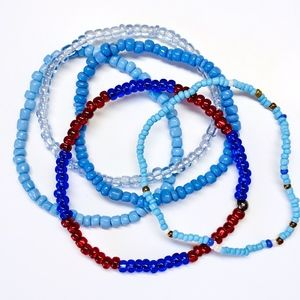 5 Glass Beaded Stretchy Bracelets Red White & Blue